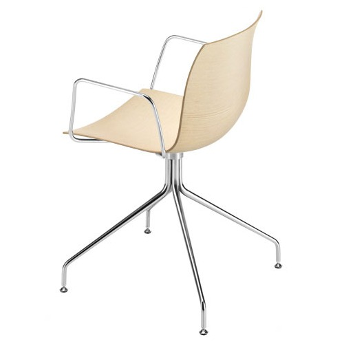 Arper Catifa 46 Arm Chair On Trestle Base with Wood Seat