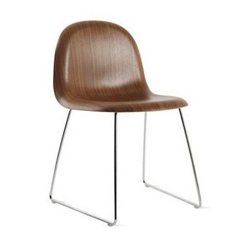 Gubi Chair with Chrome Base and Walnut Shell